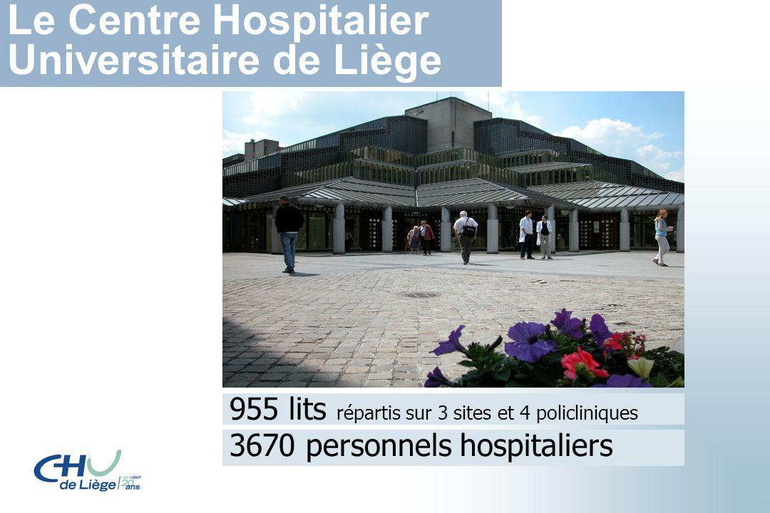 955 lits répartis sur 3 sites et 4 policliniques 3670 personnels hospitaliers Le Centre Hospitalier Universitaire de Liège