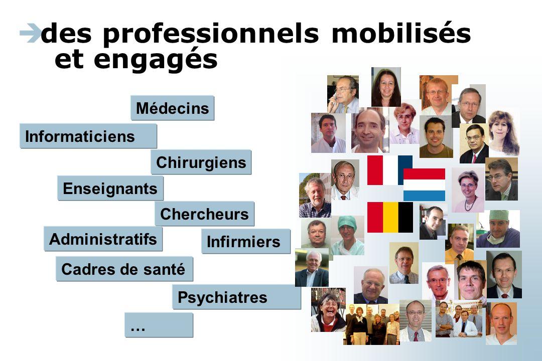 Informaticiens  des professionnels mobilisés et engagés Médecins Chirurgiens Chercheurs Administratifs Enseignants Cadres de santé Psychiatres … Infirmiers