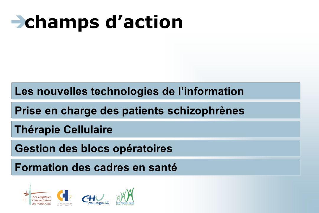Les nouvelles technologies de l'information  champs d'action Prise en charge des patients schizophrènes Thérapie Cellulaire Gestion des blocs opératoires Formation des cadres en santé