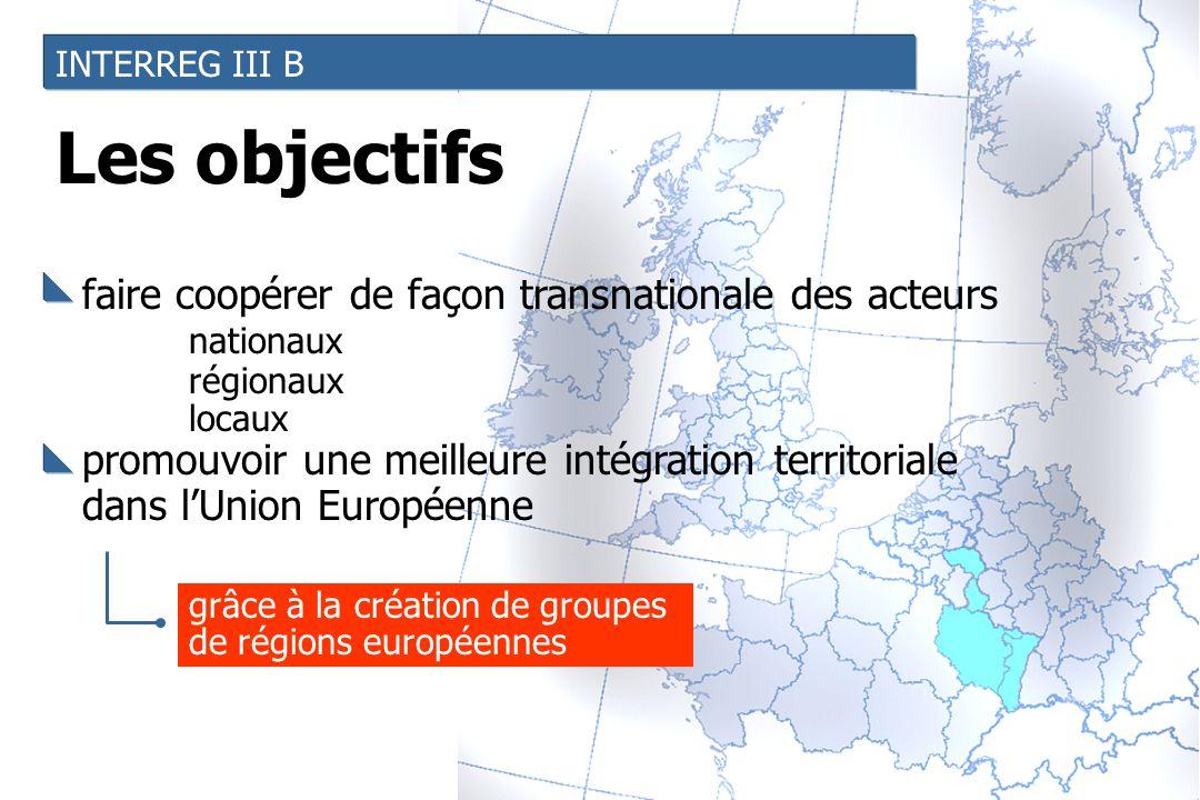 INTERREG III B faire coopérer de façon transnationale des acteurs nationaux régionaux locaux promouvoir une meilleure intégration territoriale dans l'