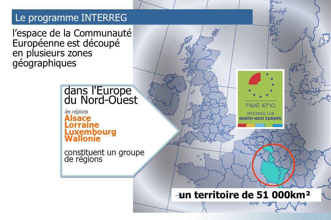 Le programme INTERREG l'espace de la Communauté Européenne est découpé en plusieurs zones géographiques dans l'Europe du Nord-Ouest les régions Alsace