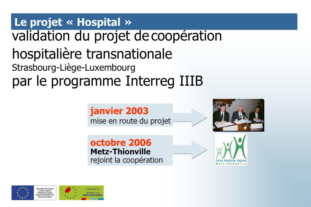 validation du projet de coopération hospitalière transnationale Strasbourg-Liège-Luxembourg par le programme Interreg IIIB Le projet « Hospital » janvier 2003 mise en route du projet octobre 2006 Metz-Thionville rejoint la coopération