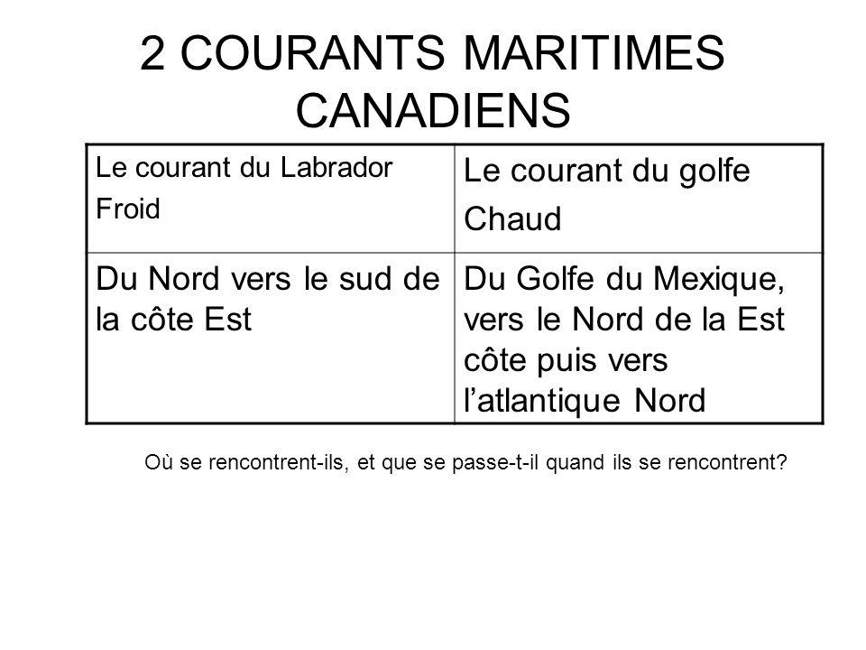 2 COURANTS MARITIMES CANADIENS Le courant du Labrador Froid Le courant du golfe Chaud Du Nord vers le sud de la côte Est Du Golfe du Mexique, vers le