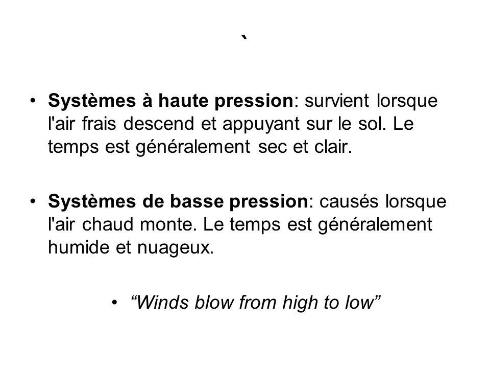 ` Systèmes à haute pression: survient lorsque l'air frais descend et appuyant sur le sol. Le temps est généralement sec et clair. Systèmes de basse pr