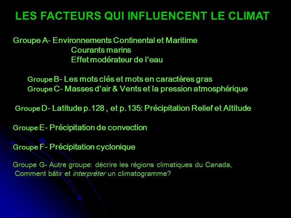 Groupe A- Environnements Continental et Maritime Courants marins Effet modérateur de l'eau Groupe B- Les mots clés et mots en caractères gras Groupe C