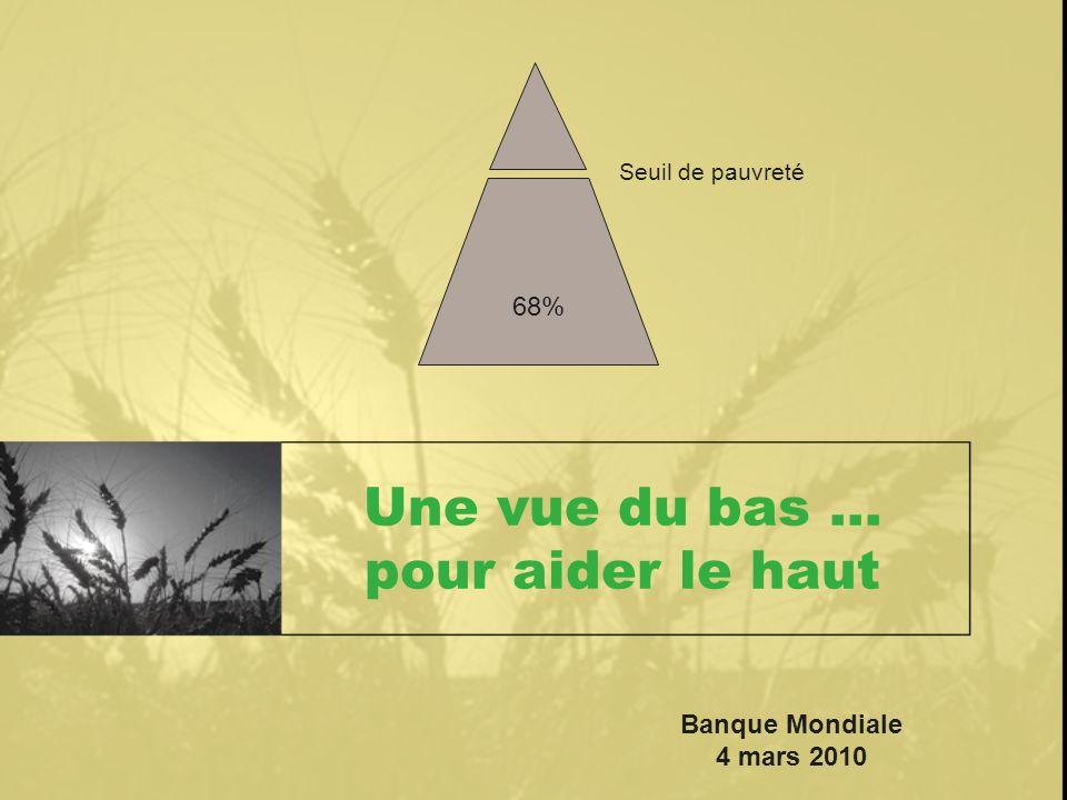 Une vue du bas … pour aider le haut Seuil de pauvreté 68% Banque Mondiale 4 mars 2010