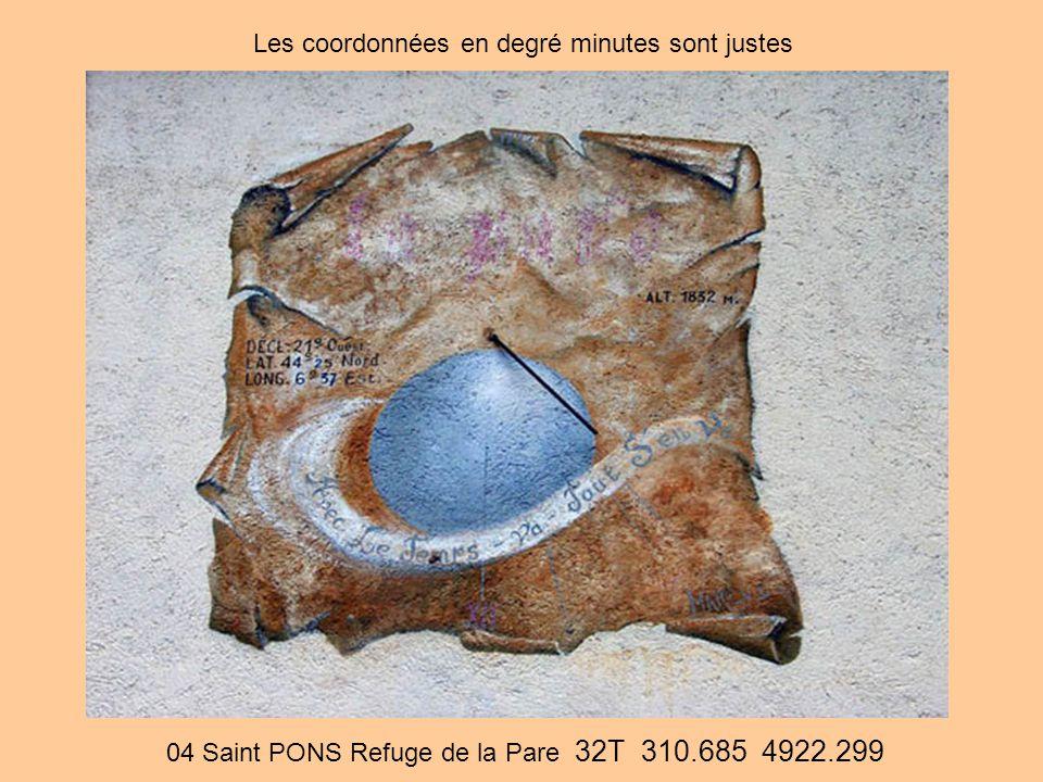 04 Saint PONS Refuge de la Pare 32T 310.685 4922.299 Les coordonnées en degré minutes sont justes