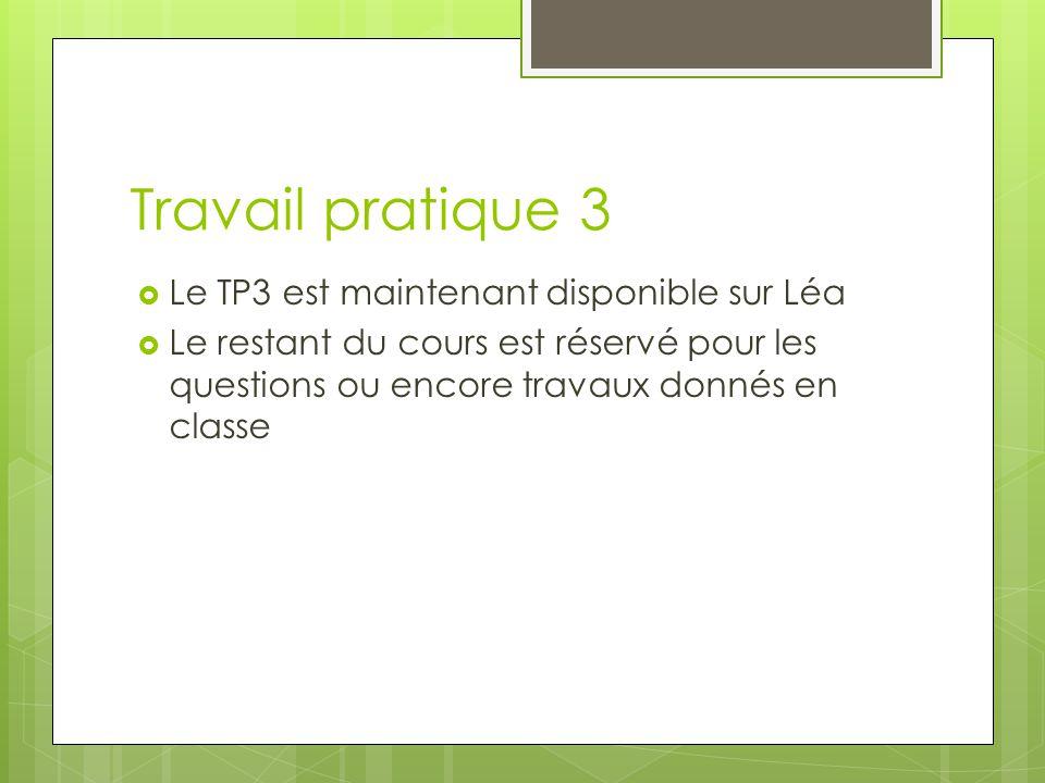 Travail pratique 3  Le TP3 est maintenant disponible sur Léa  Le restant du cours est réservé pour les questions ou encore travaux donnés en classe