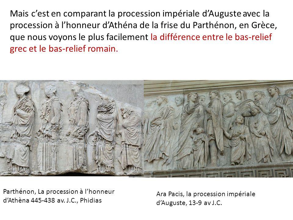 Mais c'est en comparant la procession impériale d'Auguste avec la procession à l'honneur d'Athéna de la frise du Parthénon, en Grèce, que nous voyons