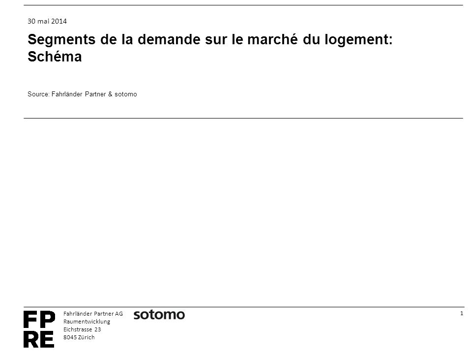 1 Fahrländer Partner AG Raumentwicklung Eichstrasse 23 8045 Zürich 30 mai 2014 Segments de la demande sur le marché du logement: Schéma Source: Fahrländer Partner & sotomo