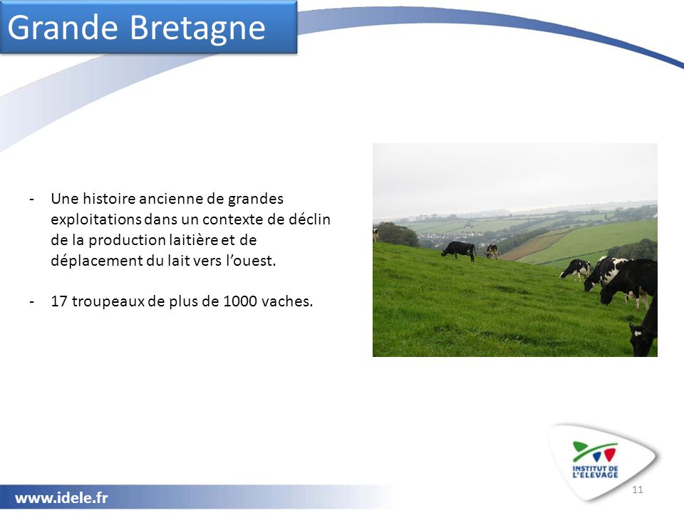 www.idele.fr 11 Grande Bretagne -Une histoire ancienne de grandes exploitations dans un contexte de déclin de la production laitière et de déplacement du lait vers l'ouest.