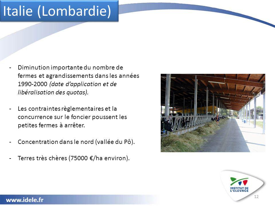 www.idele.fr 12 Italie (Lombardie) Photo archives CRPA -Diminution importante du nombre de fermes et agrandissements dans les années 1990-2000 (date d