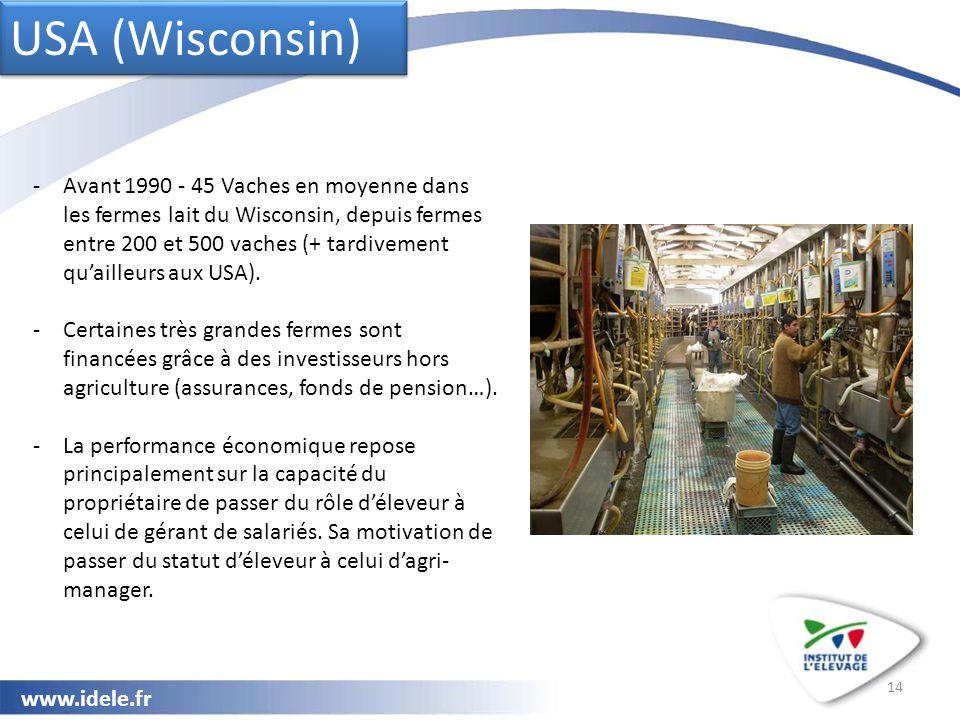 www.idele.fr 14 USA (Wisconsin) -Avant 1990 - 45 Vaches en moyenne dans les fermes lait du Wisconsin, depuis fermes entre 200 et 500 vaches (+ tardivement qu'ailleurs aux USA).