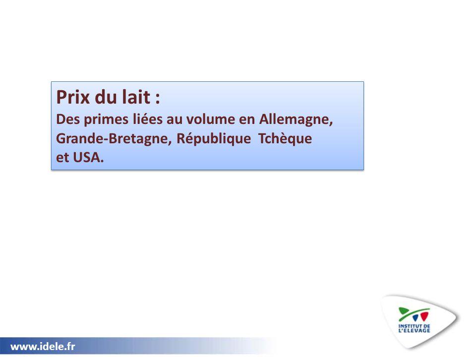 www.idele.fr Prix du lait : Des primes liées au volume en Allemagne, Grande-Bretagne, République Tchèque et USA. Prix du lait : Des primes liées au vo