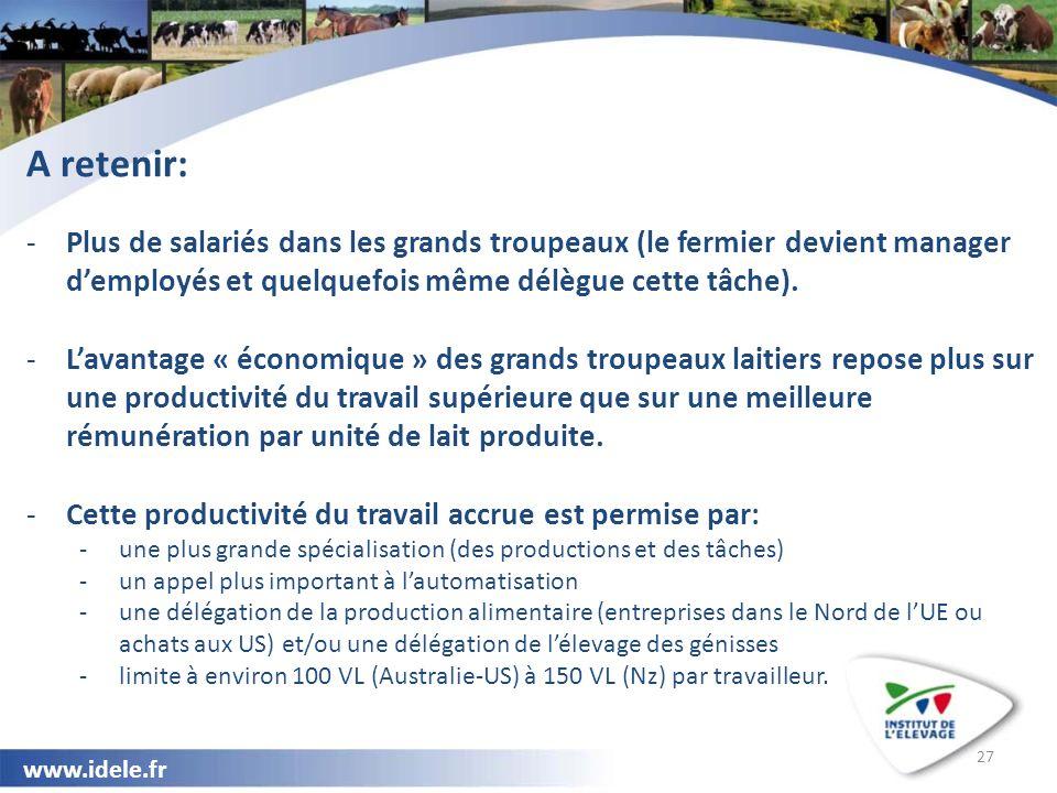 www.idele.fr 27 A retenir: -Plus de salariés dans les grands troupeaux (le fermier devient manager d'employés et quelquefois même délègue cette tâche).