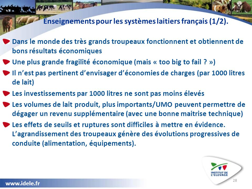 www.idele.fr 28 Enseignements pour les systèmes laitiers français (1/2). Dans le monde des très grands troupeaux fonctionnent et obtiennent de bons ré