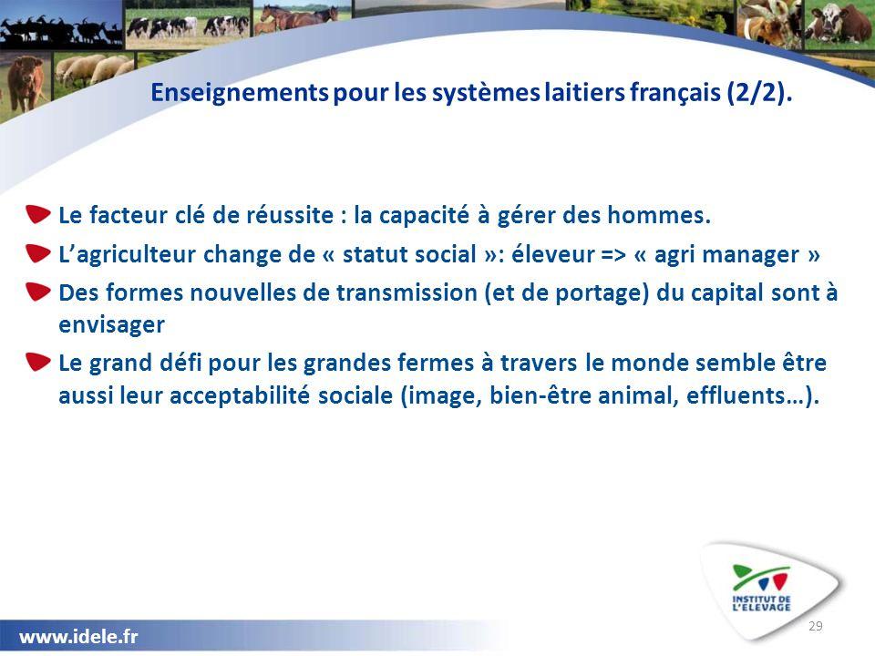 www.idele.fr 29 Enseignements pour les systèmes laitiers français (2/2). Le facteur clé de réussite : la capacité à gérer des hommes. L'agriculteur ch