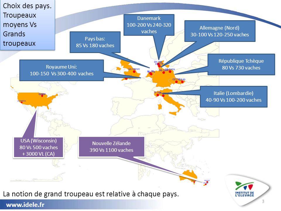 www.idele.fr 3 Choix des pays. Troupeaux moyens Vs Grands troupeaux Choix des pays. Troupeaux moyens Vs Grands troupeaux Royaume Uni: 100-150 Vs 300-4