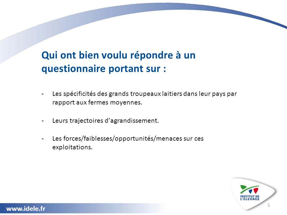 www.idele.fr 5 Qui ont bien voulu répondre à un questionnaire portant sur : -Les spécificités des grands troupeaux laitiers dans leur pays par rapport aux fermes moyennes.