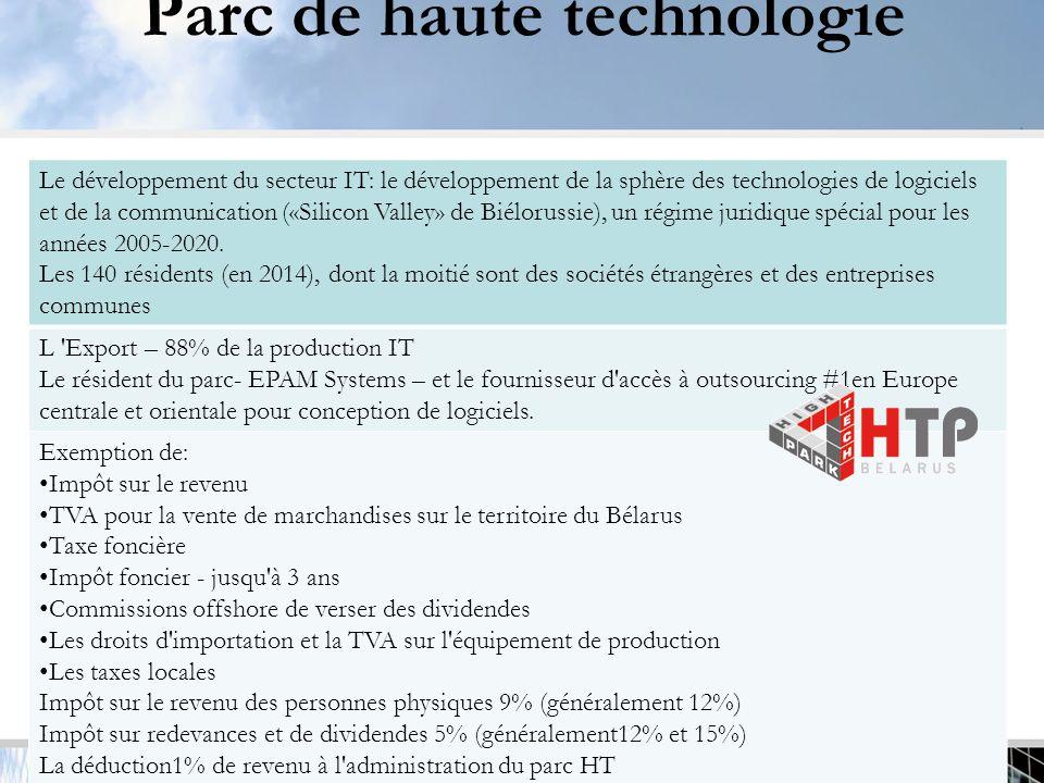 Parc de haute technologie 11 Le développement du secteur IT: le développement de la sphère des technologies de logiciels et de la communication («Silicon Valley» de Biélorussie), un régime juridique spécial pour les années 2005-2020.