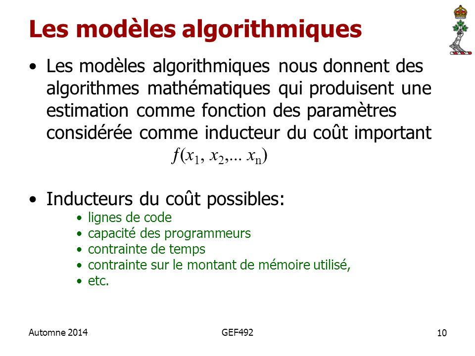 Les modèles algorithmiques nous donnent des algorithmes mathématiques qui produisent une estimation comme fonction des paramètres considérée comme ind