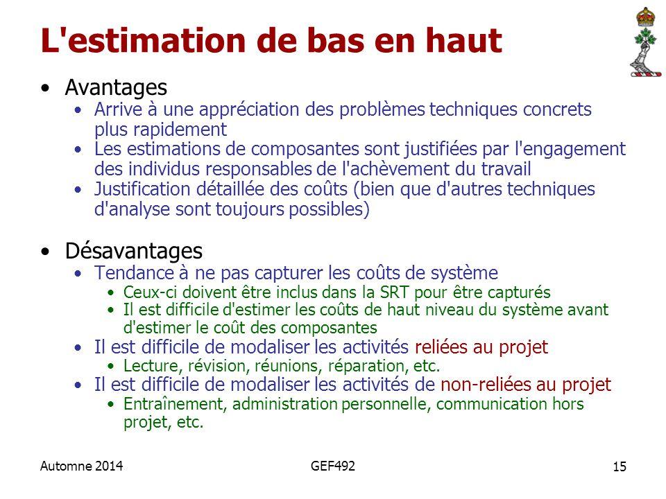 15 Automne 2014GEF492 L'estimation de bas en haut Avantages Arrive à une appréciation des problèmes techniques concrets plus rapidement Les estimation