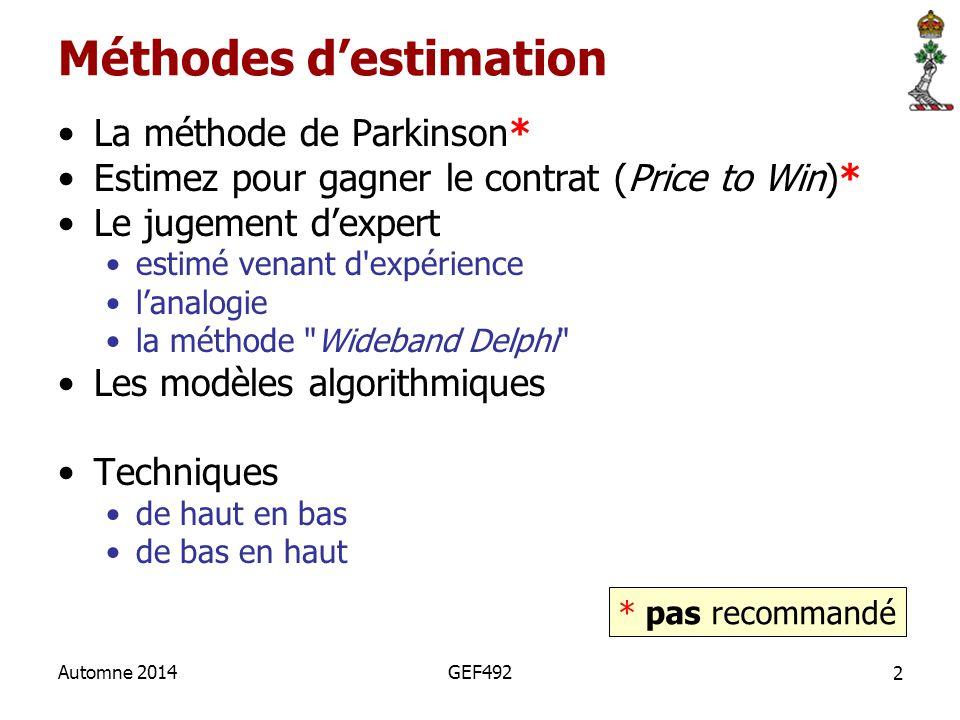 2 Automne 2014GEF492 Méthodes d'estimation La méthode de Parkinson* Estimez pour gagner le contrat (Price to Win)* Le jugement d'expert estimé venant