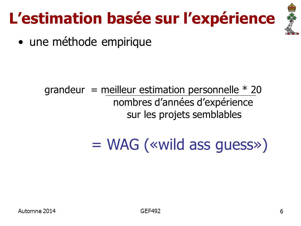 6 Automne 2014GEF492 L'estimation basée sur l'expérience une méthode empirique grandeur = meilleur estimation personnelle * 20 nombres d'années d'expé