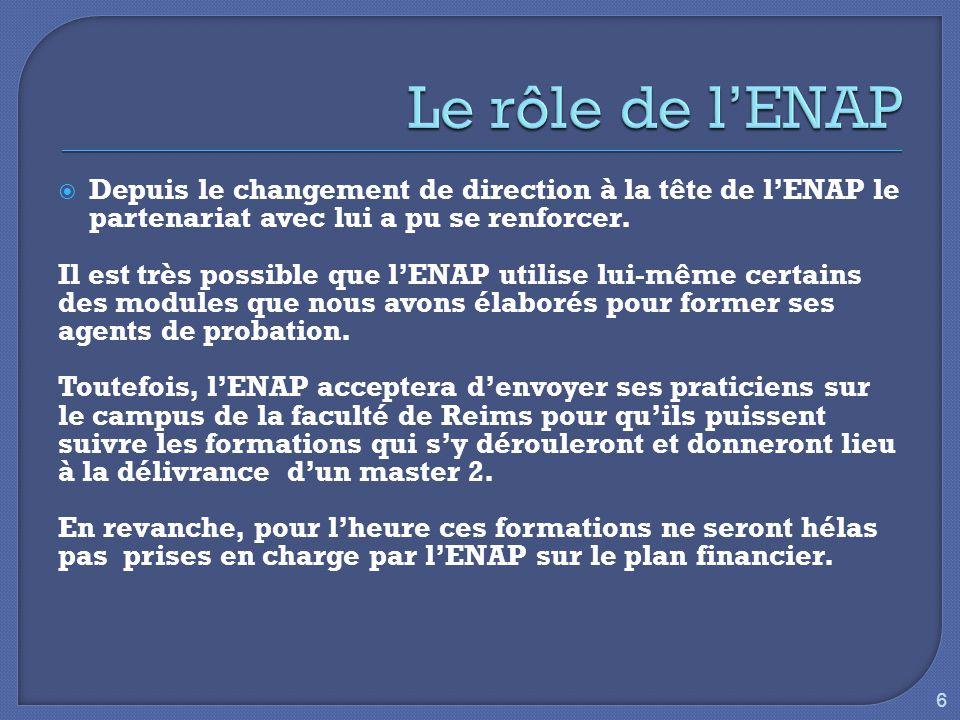  Depuis le changement de direction à la tête de l'ENAP le partenariat avec lui a pu se renforcer.