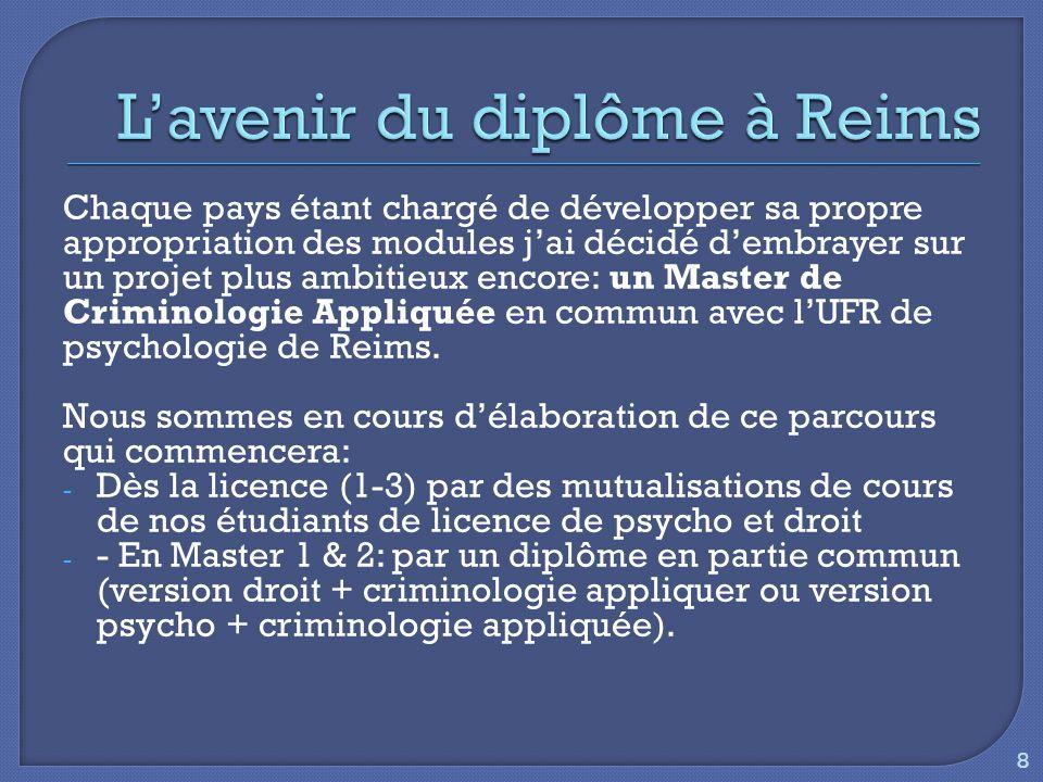 Chaque pays étant chargé de développer sa propre appropriation des modules j'ai décidé d'embrayer sur un projet plus ambitieux encore: un Master de Criminologie Appliquée en commun avec l'UFR de psychologie de Reims.