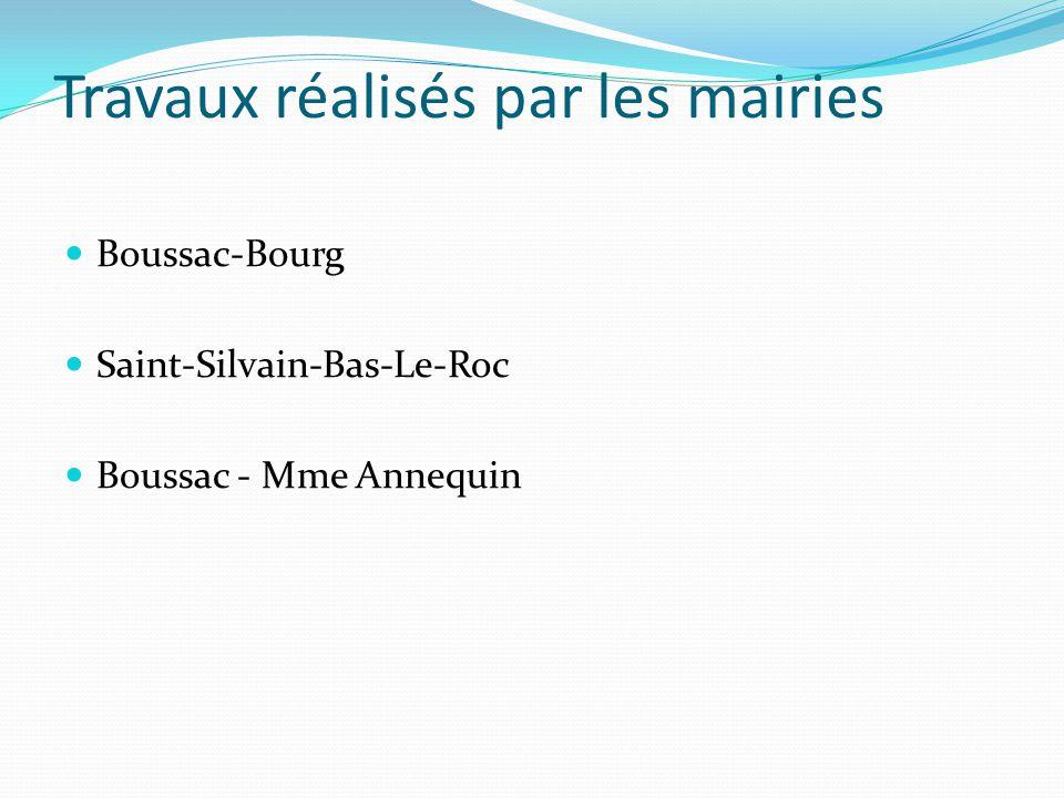 Travaux réalisés par les mairies Boussac-Bourg Saint-Silvain-Bas-Le-Roc Boussac - Mme Annequin
