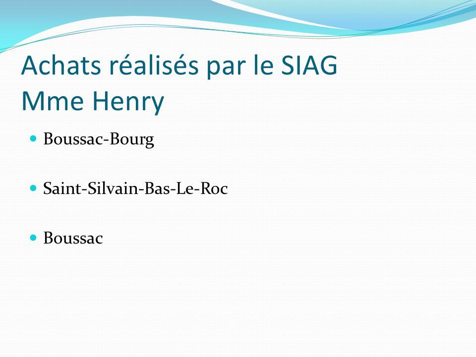 Achats réalisés par le SIAG Mme Henry Boussac-Bourg Saint-Silvain-Bas-Le-Roc Boussac