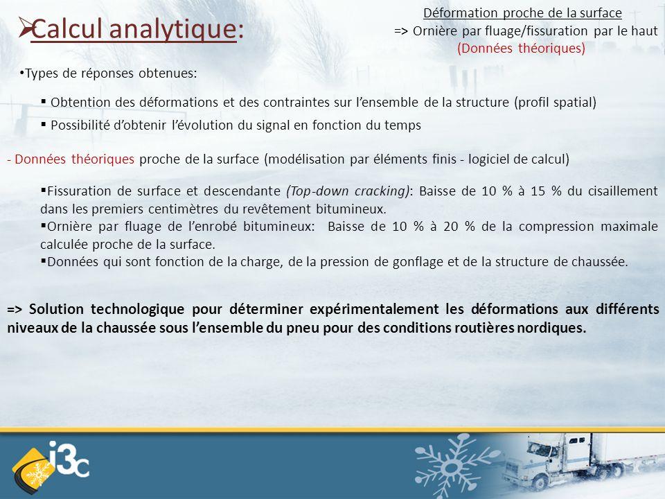  Calcul analytique: Types de réponses obtenues:  Obtention des déformations et des contraintes sur l'ensemble de la structure (profil spatial)  Pos