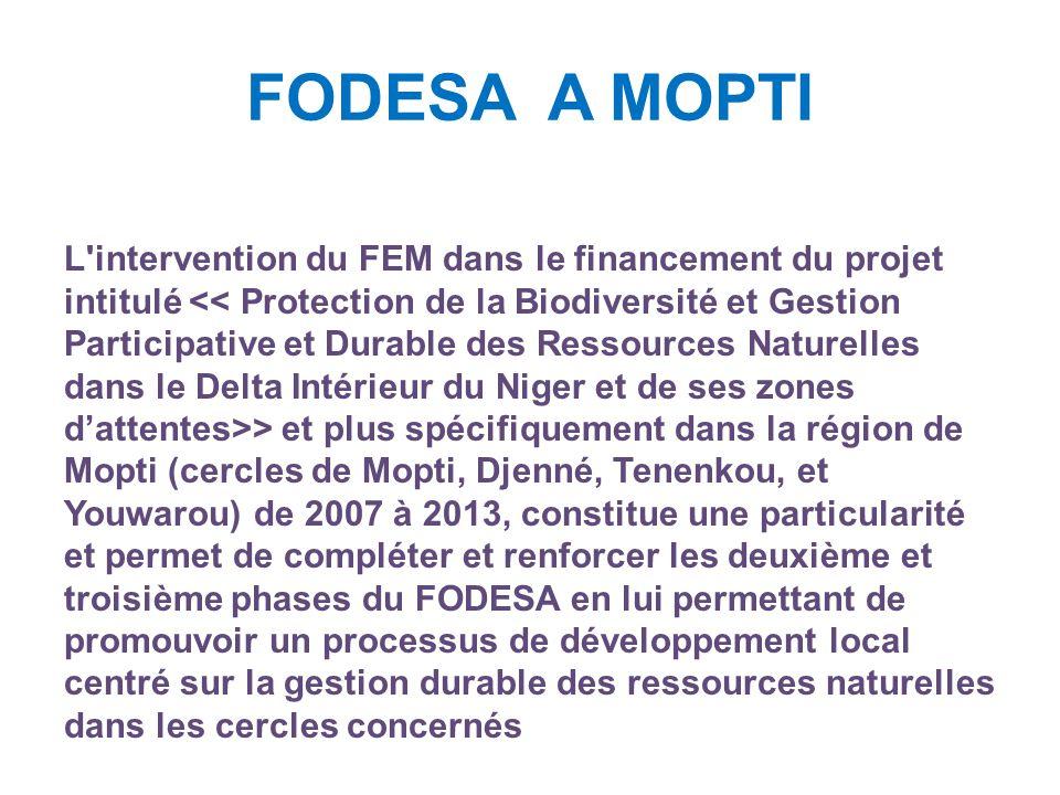 FODESA A MOPTI L intervention du FEM dans le financement du projet intitulé > et plus spécifiquement dans la région de Mopti (cercles de Mopti, Djenné, Tenenkou, et Youwarou) de 2007 à 2013, constitue une particularité et permet de compléter et renforcer les deuxième et troisième phases du FODESA en lui permettant de promouvoir un processus de développement local centré sur la gestion durable des ressources naturelles dans les cercles concernés