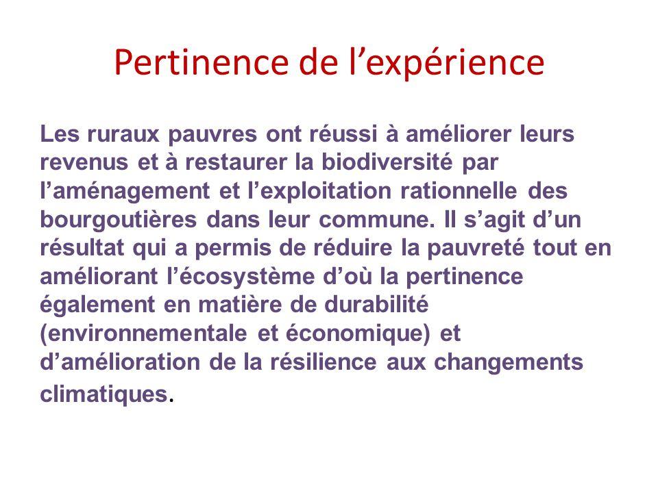 Pertinence de l'expérience Les ruraux pauvres ont réussi à améliorer leurs revenus et à restaurer la biodiversité par l'aménagement et l'exploitation rationnelle des bourgoutières dans leur commune.