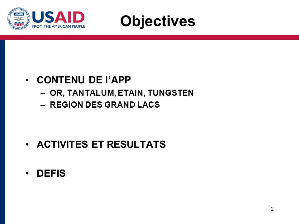 2 CONTENU DE l'APP –OR, TANTALUM, ETAIN, TUNGSTEN –REGION DES GRAND LACS ACTIVITES ET RESULTATS DEFIS Objectives
