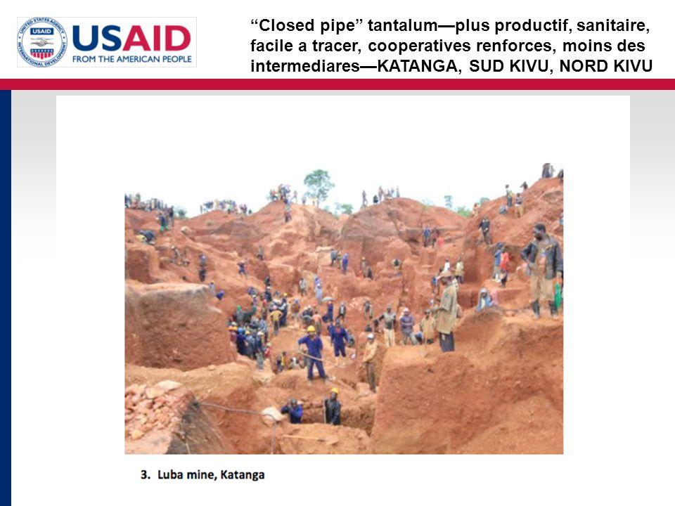Closed pipe tantalum—plus productif, sanitaire, facile a tracer, cooperatives renforces, moins des intermediares—KATANGA, SUD KIVU, NORD KIVU