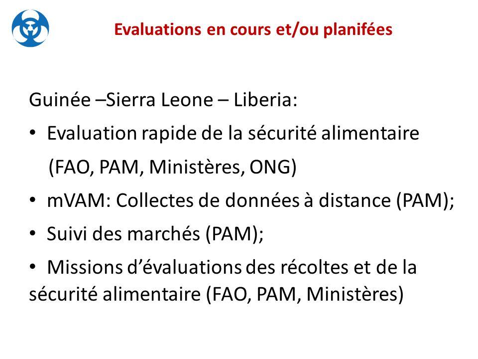 Evaluations en cours et/ou planifées Guinée –Sierra Leone – Liberia: Evaluation rapide de la sécurité alimentaire (FAO, PAM, Ministères, ONG) mVAM: Collectes de données à distance (PAM); Suivi des marchés (PAM); Missions d'évaluations des récoltes et de la sécurité alimentaire (FAO, PAM, Ministères)