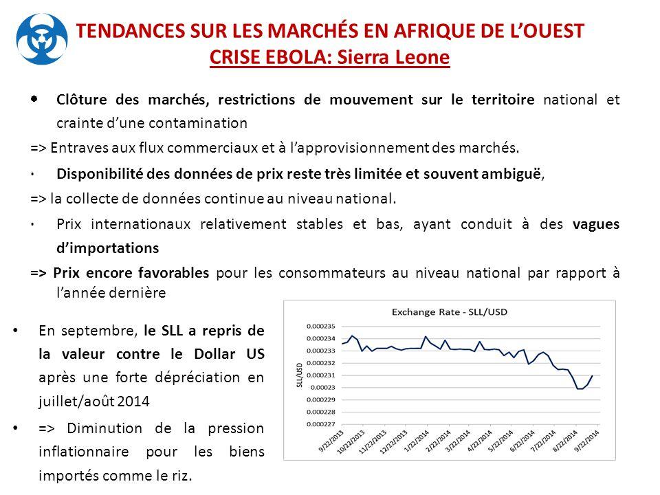 TENDANCES SUR LES MARCHÉS EN AFRIQUE DE L'OUEST CRISE EBOLA: Sierra Leone  Clôture des marchés, restrictions de mouvement sur le territoire national et crainte d'une contamination => Entraves aux flux commerciaux et à l'approvisionnement des marchés.