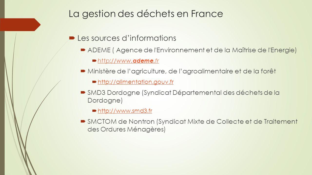 La gestion des déchets en France  Les sources d'informations  ADEME ( Agence de l Environnement et de la Maîtrise de l Energie)  http://www.