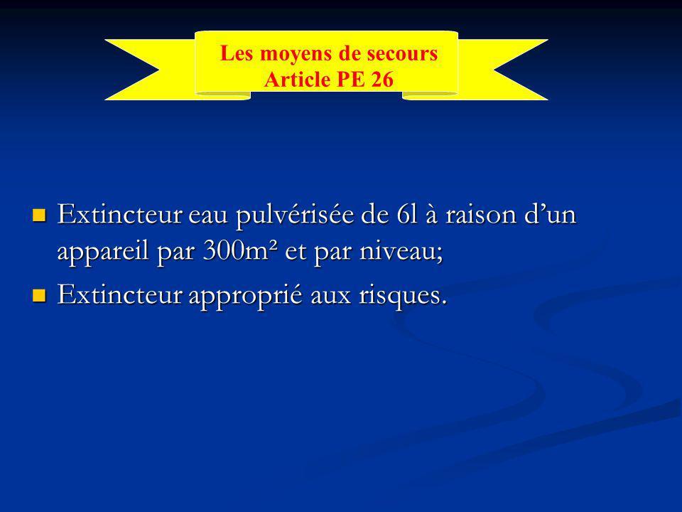 Extincteur eau pulvérisée de 6l à raison d'un appareil par 300m² et par niveau; Extincteur eau pulvérisée de 6l à raison d'un appareil par 300m² et par niveau; Extincteur approprié aux risques.