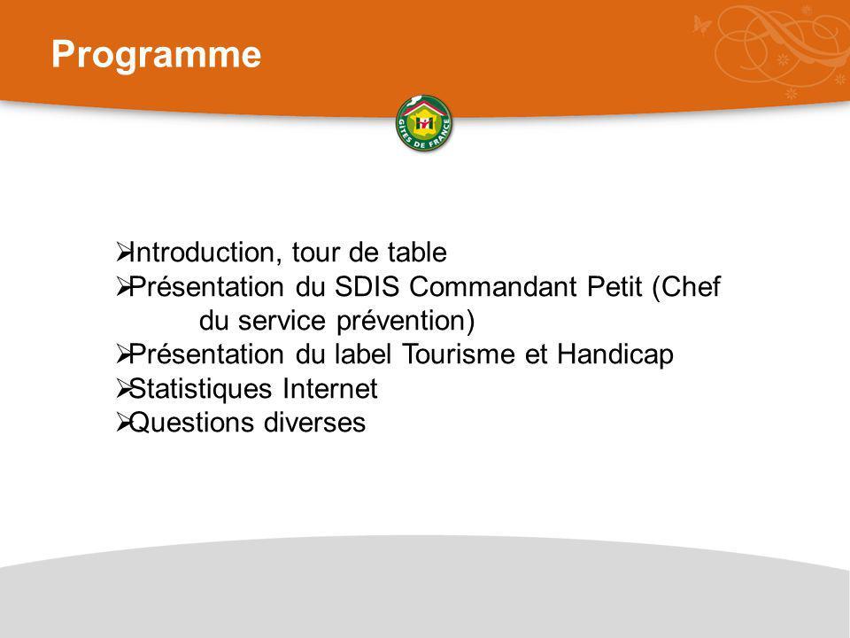 Programme  Introduction, tour de table  Présentation du SDIS Commandant Petit (Chef du service prévention)  Présentation du label Tourisme et Handicap  Statistiques Internet  Questions diverses