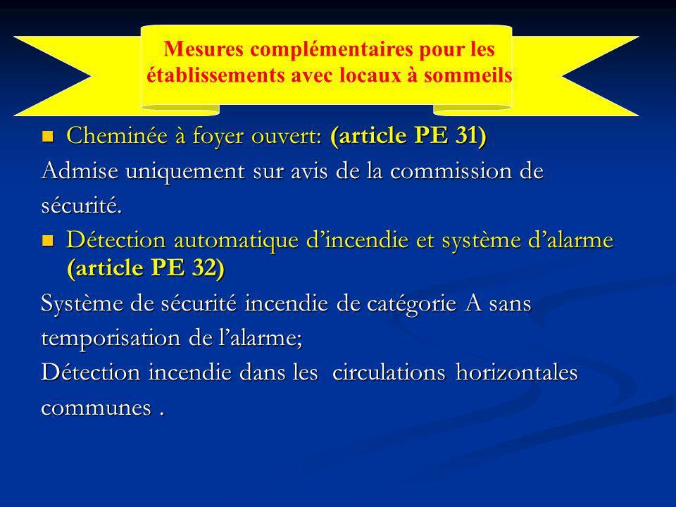 Cheminée à foyer ouvert: (article PE 31) Cheminée à foyer ouvert: (article PE 31) Admise uniquement sur avis de la commission de sécurité.