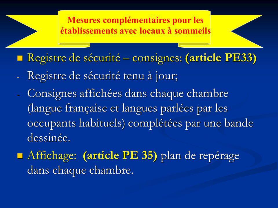 Registre de sécurité – consignes: (article PE33) Registre de sécurité – consignes: (article PE33) - Registre de sécurité tenu à jour; - Consignes affichées dans chaque chambre (langue française et langues parlées par les occupants habituels) complétées par une bande dessinée.