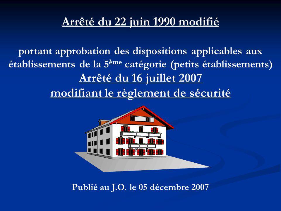 Arrêté du 22 juin 1990 modifié portant approbation des dispositions applicables aux établissements de la 5 ème catégorie (petits établissements) Arrêté du 16 juillet 2007 modifiant le règlement de sécurité Publié au J.O.