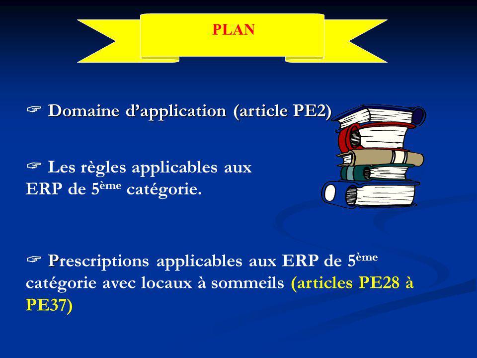 PLAN  Les règles applicables aux ERP de 5 ème catégorie.