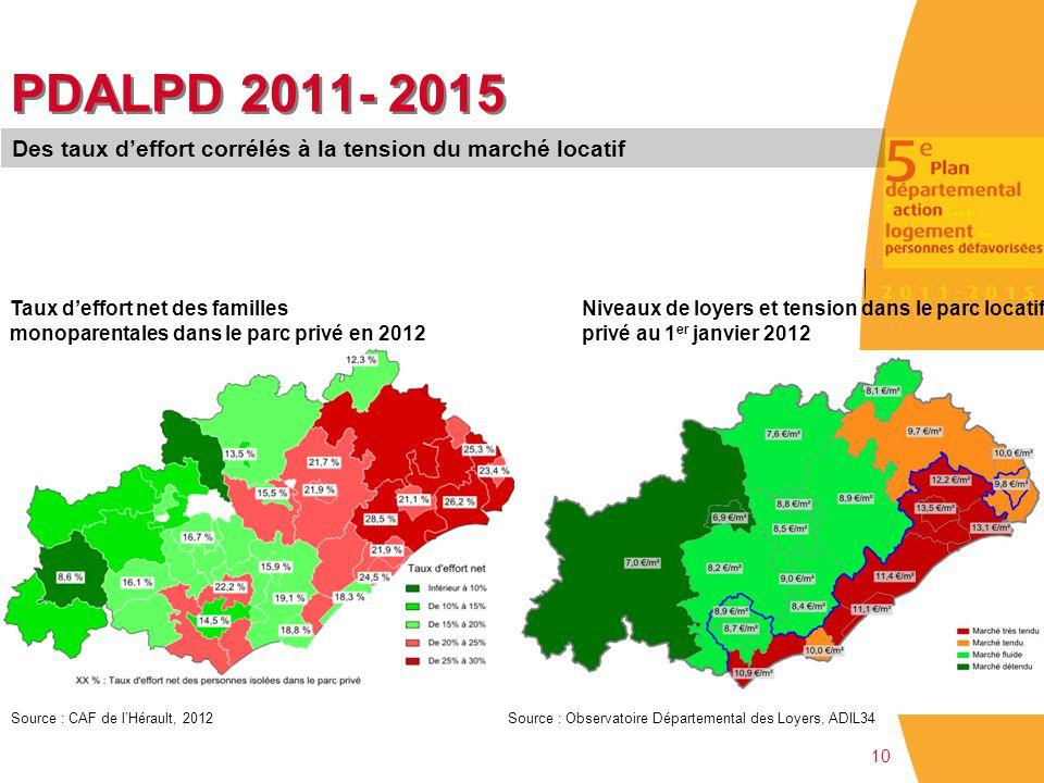 10 PDALPD 2011- 2015 Taux d'effort net des familles monoparentales dans le parc privé en 2012 Source : CAF de l'Hérault, 2012 Des taux d'effort corrél