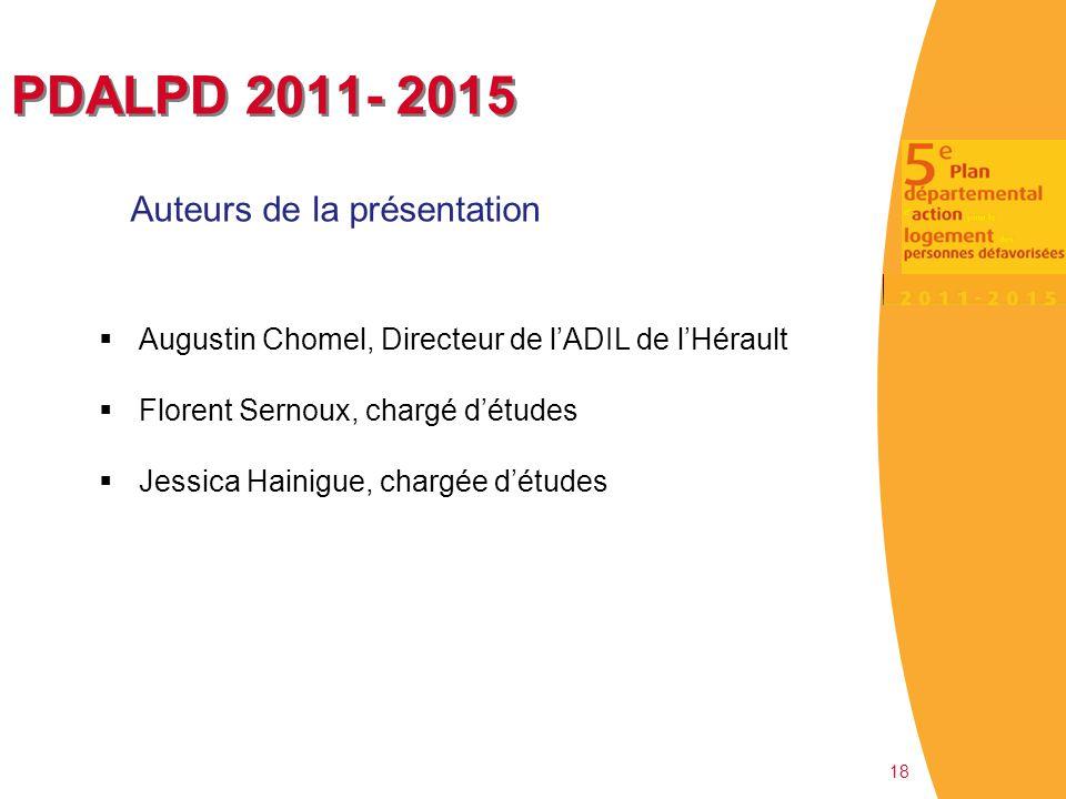 PDALPD 2011- 2015 Auteurs de la présentation 18  Augustin Chomel, Directeur de l'ADIL de l'Hérault  Florent Sernoux, chargé d'études  Jessica Haini