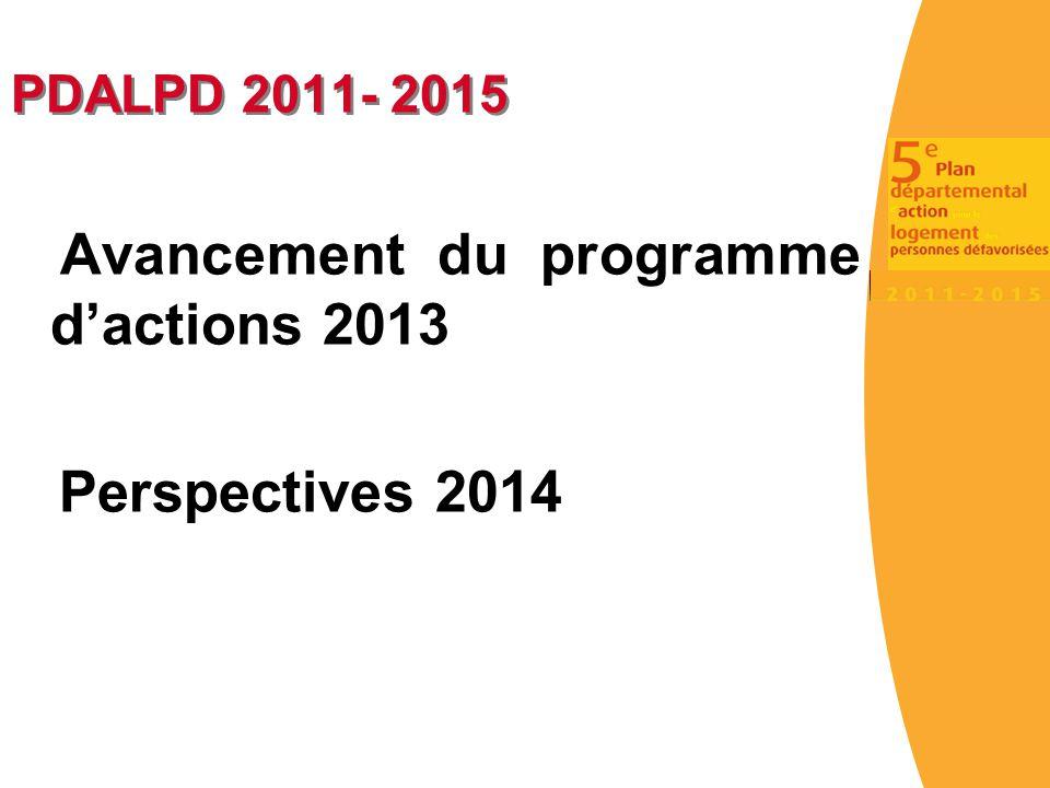 PDALPD 2011- 2015 Avancement du programme d'actions 2013 Perspectives 2014