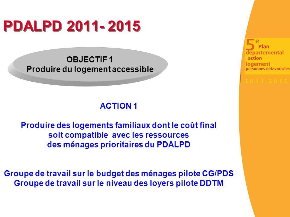 PDALPD 2011- 2015 ACTION 1 Produire des logements familiaux dont le coût final soit compatible avec les ressources des ménages prioritaires du PDALPD